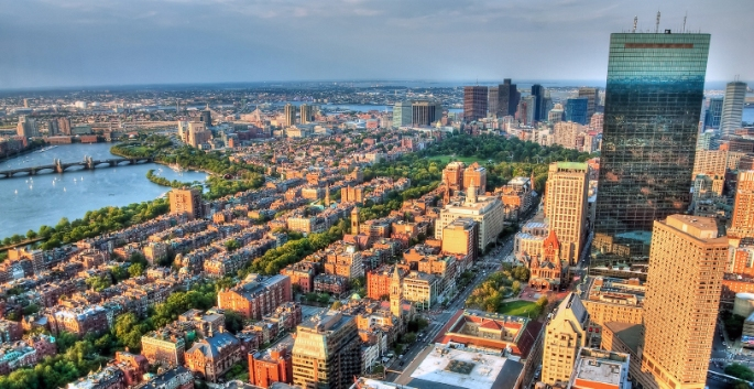 Back Bay Boston drone shot rendering